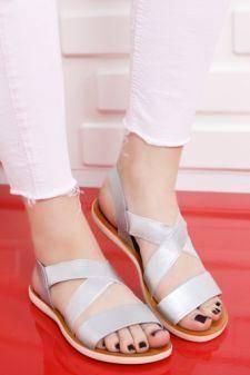 Sandale Adoreno argintii cu talpa joasa