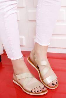 Sandale Adoreno aurii cu talpa joasa