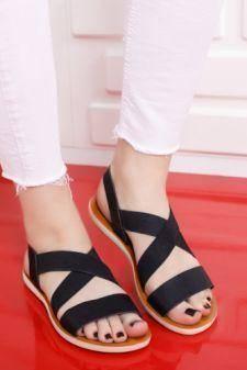 Sandale Adoreno negre cu talpa joasa