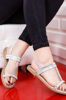 Sandale Akelu argintii cu talpa joasa