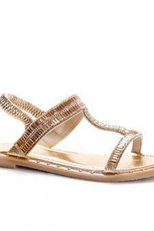 Sandale Akelu aurii cu talpa joasa