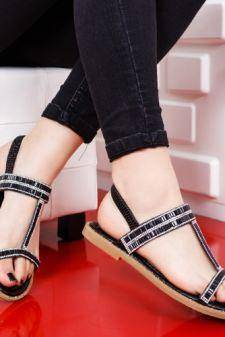 Sandale Akelu negre cu talpa joasa