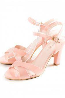 Sandale Alaja roz cu toc gros