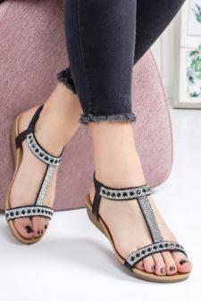 Sandale Amaranta negre cu talpa joasa