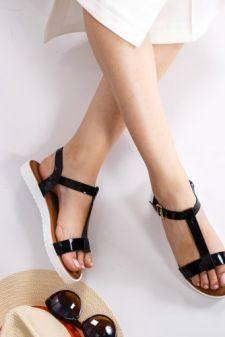 Sandale Amarante negre cu talpa joasa