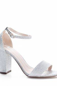 Sandale Amilani argintii cu toc gros