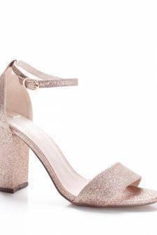 Sandale Amilani aurii cu toc gros