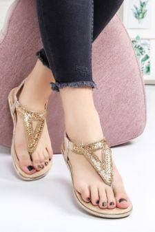 Sandale Aranza aurii cu talpa joasa