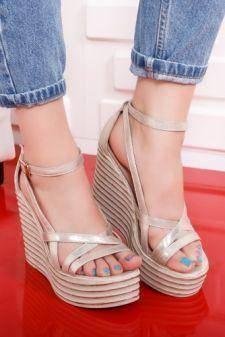 Sandale Bafino aurii cu platforma