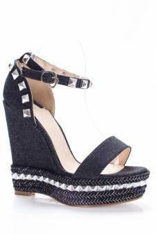 Sandale Bambina negre cu platforma