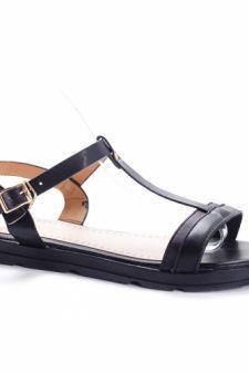 Sandale Bamisa negre cu talpa joasa