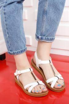 Sandale Barsia albe cu talpa joasa
