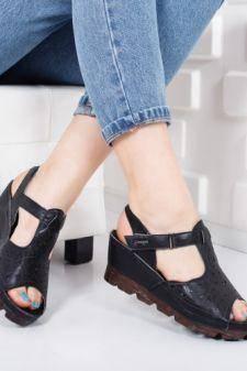 Sandale Beatrise negre cu platforma