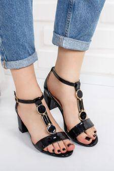Sandale Begani negre cu toc gos