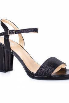Sandale Belissima negre cu toc gros