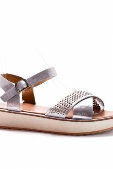 Sandale Benga argintii cu talpa joasa