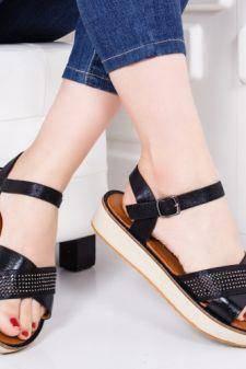 Sandale Benga negre cu talpa joasa