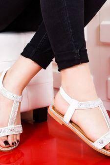 Sandale Berani albe cu talpa joasa
