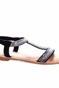Sandale Berani negre cu talpa joasa