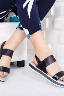Sandale Bibina negre cu talpa joasa