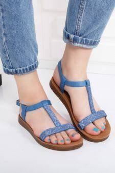 Sandale Bifidu albastre cu talpa joasa