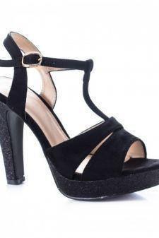 Sandale Briggy negre cu toc gros