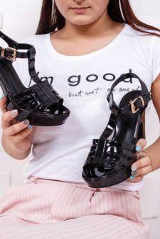 Sandale Brigita negre cu toc gros
