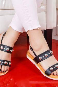 Sandale Buhico negre cu talpa joasa