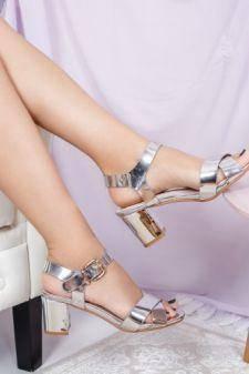 Sandale Busyol argintiu cu toc gros