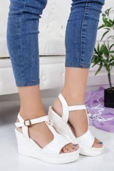 Sandale Candise albe cu platforma