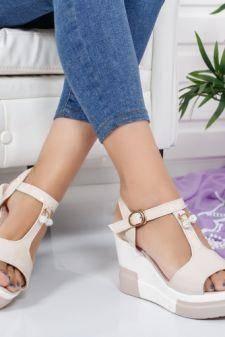 Sandale Candise bej cu platforma