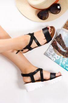 Sandale Carolle negre cu talpa ortopedica