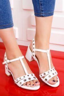 Sandale Cecila albe cu toc gros