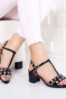 Sandale Cecila negre cu toc gros