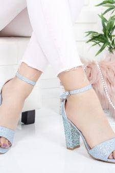 Sandale Cedori albastre cu toc gros