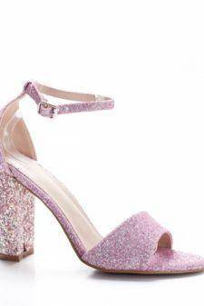 Sandale Cedori roz cu toc gros