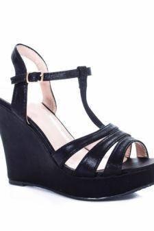 Sandale Celisa negre cu platforma