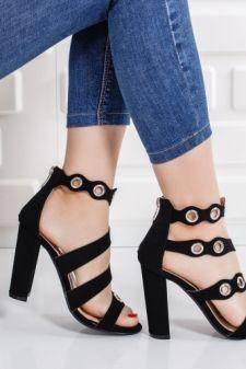 Sandale Cerinas negre cu toc gros