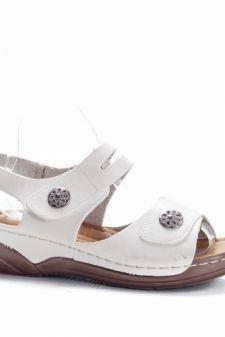 Sandale Ceroni albe cu talpa joasa