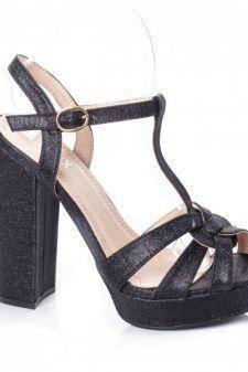 Sandale Chika negre cu toc gros si platforma