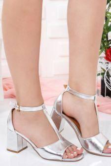 Sandale Civemi argintii cu toc gros