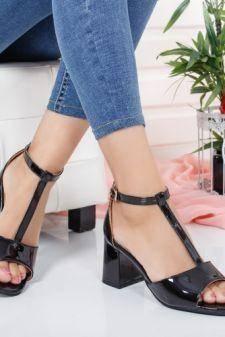 Sandale Civemi negre cu toc gros