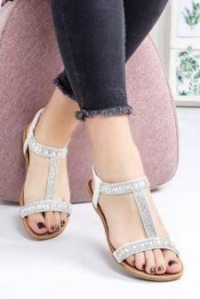 Sandale Clarita albe cu talpa joasa
