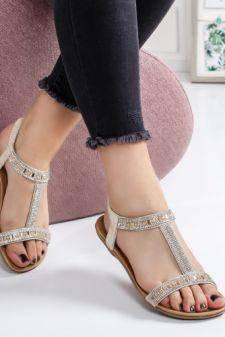 Sandale Clarita bej cu talpa joasa