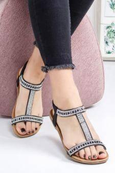 Sandale Clarita negre cu talpa joasa