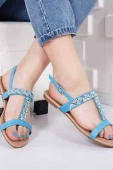 Sandale Clarito albastre cu talpa joasa