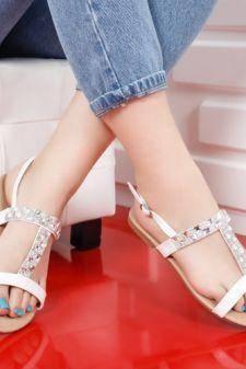Sandale Clarito albe cu talpa joasa