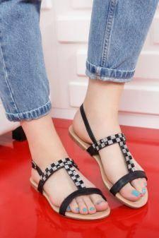 Sandale Clarito negre cu talpa joasa