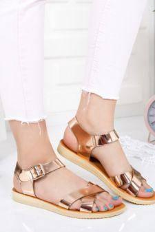Sandale Closeno aurii cu talpa joasa