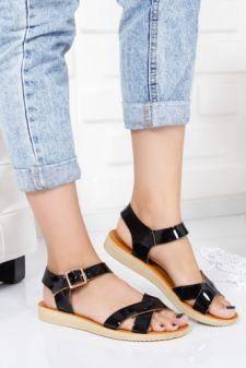 Sandale Closeno negre cu talpa joasa